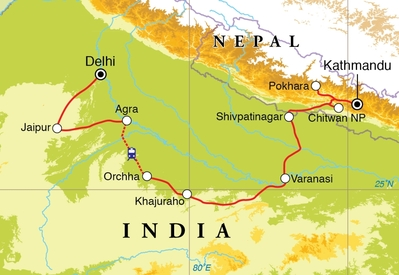 Routekaart Rondreis India & Nepal, 22 dagen