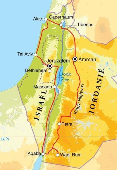 591588157d93ba Routekaart Rondreis Israël en Jordanië, 15 dagen