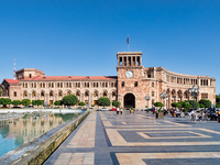 Republic square in Yerevan with fountains, Armenia