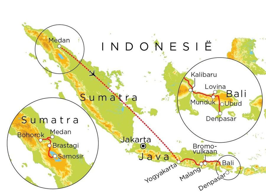 Routekaart Indonesie, 23 dagen