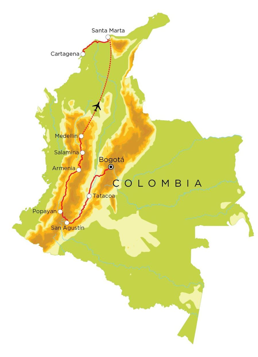 Routekaart Colombia, 22 dagen