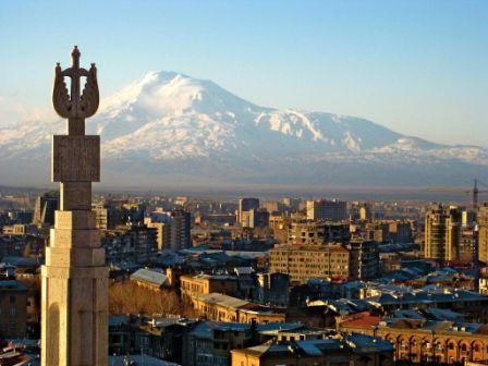 Blick auf den Ararat, Eriwan, Armenien, Djoser